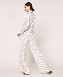 Striped crêpe de Chine shirt Vanilla / Black Stripes Woman 201MP2100-03