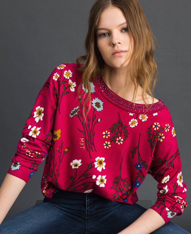 Dual use boxy jumper with rhinestones Amaranth Red Floral Print Woman 192MP3230-01