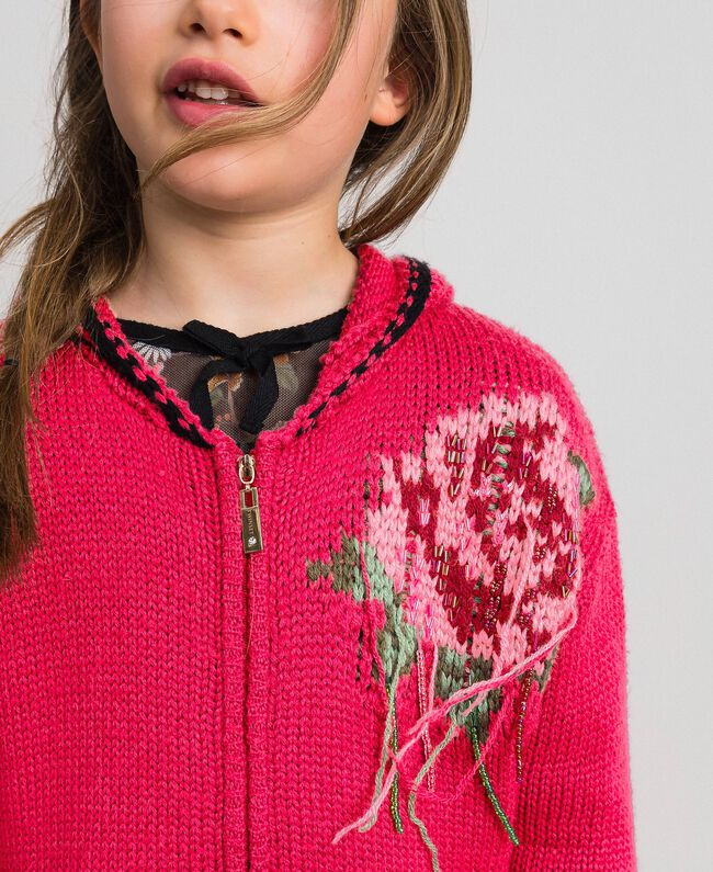 "Wool blend maxi cardigan with rose inlay ""Candy"" Fuchsia/ Black Child 192GJ3021-04"