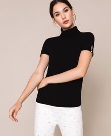 Turtleneck jumper with rhinestone buttons White Snow Woman 201TP3102-01