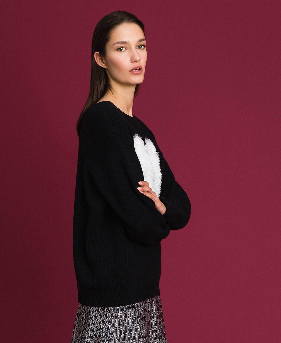 Cardigan-Pullover mit Herz Zweifarbig Schwarz / Schneeweiß Frau 192TP3320-02