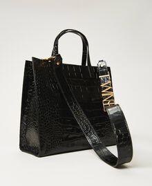 Bolso shopper Twinset Bag mediano de piel Estampado Coco Negro Mujer 202TB7113-04