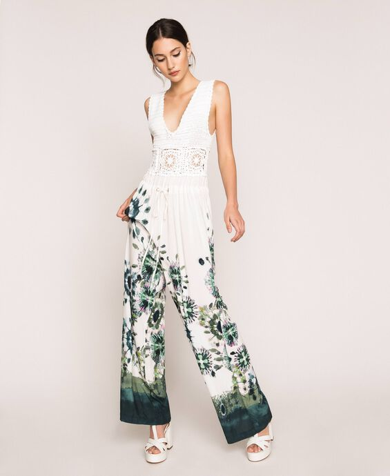 Jumpsuit with crochet and print