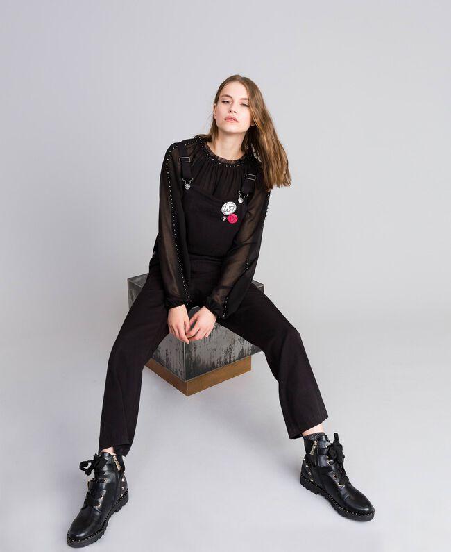 Salopette avec poche avant et broches Noir Femme JA82S1-01