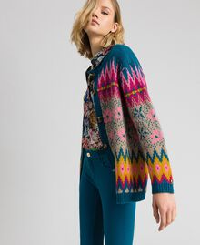 Pull-cardigan jacquard multicolore Jacquard Multicolore Bleu « Lake » Femme 192MP3181-03