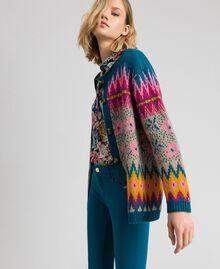 Pull-cardigan jacquard multicolore Jacquard Multicolore Bleu «Lake» Femme 192MP3181-03