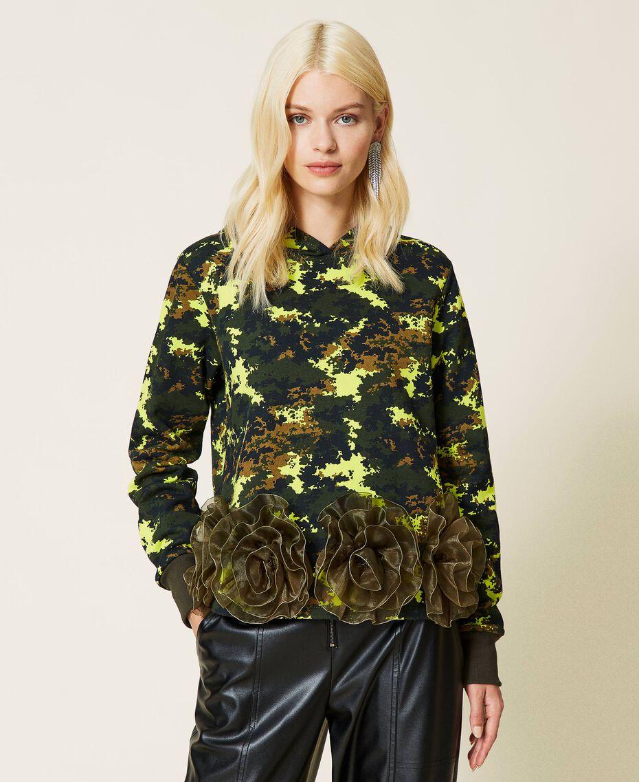 Felpa 'Silver' camouflage con rose Stampa Mimetic Green Donna 212AP2320-02