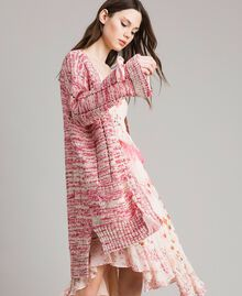 Maxi cardigan with ribbons Multicolour Pink Pattern Woman 191TP3280-03