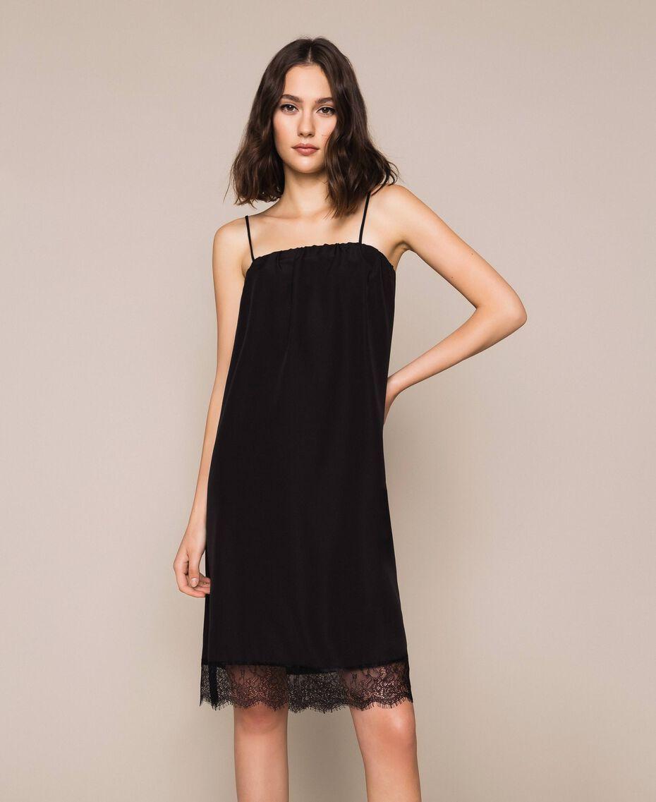 Robe nuisette avec dentelle Noir / Noir Femme 201MT2282-01