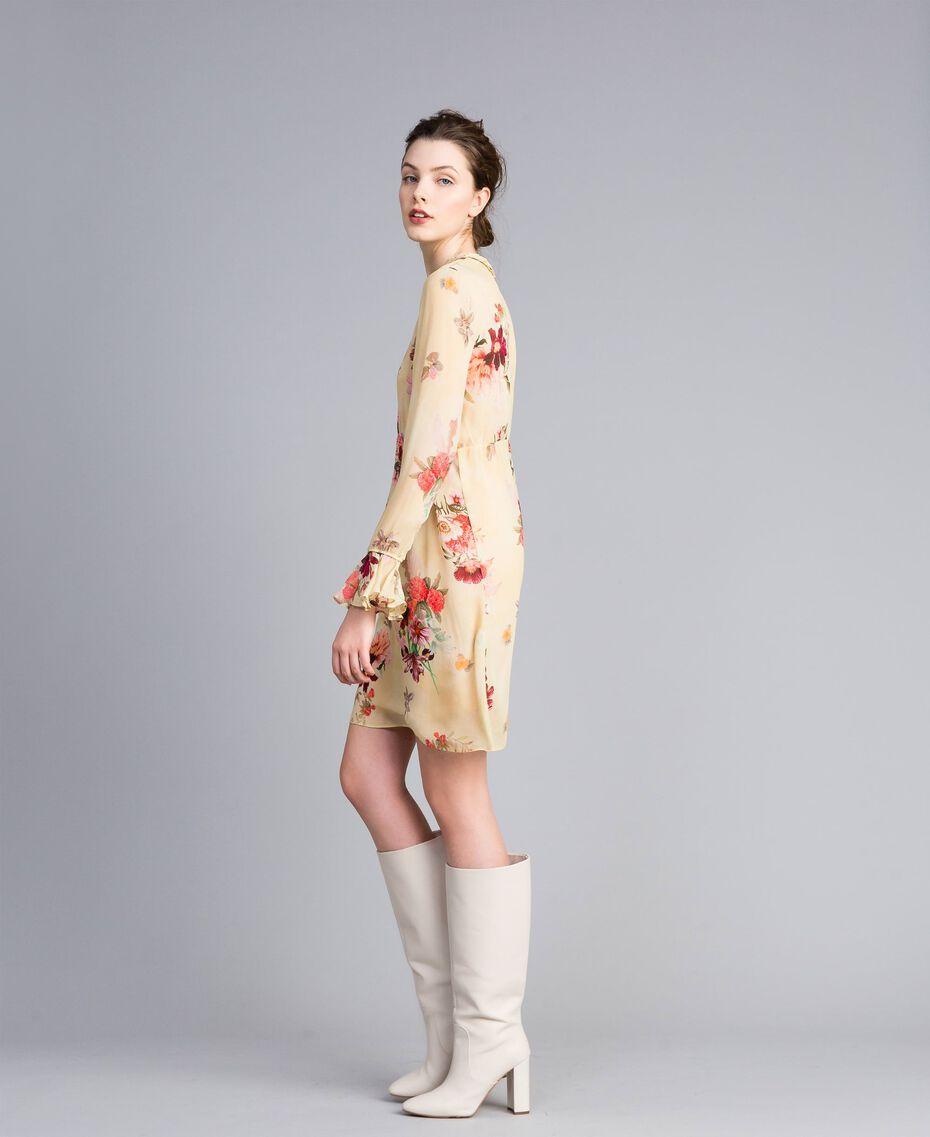"""Mini floral print georgette dress """"Tea Garden"""" Pink Print Woman PA8271-02"""