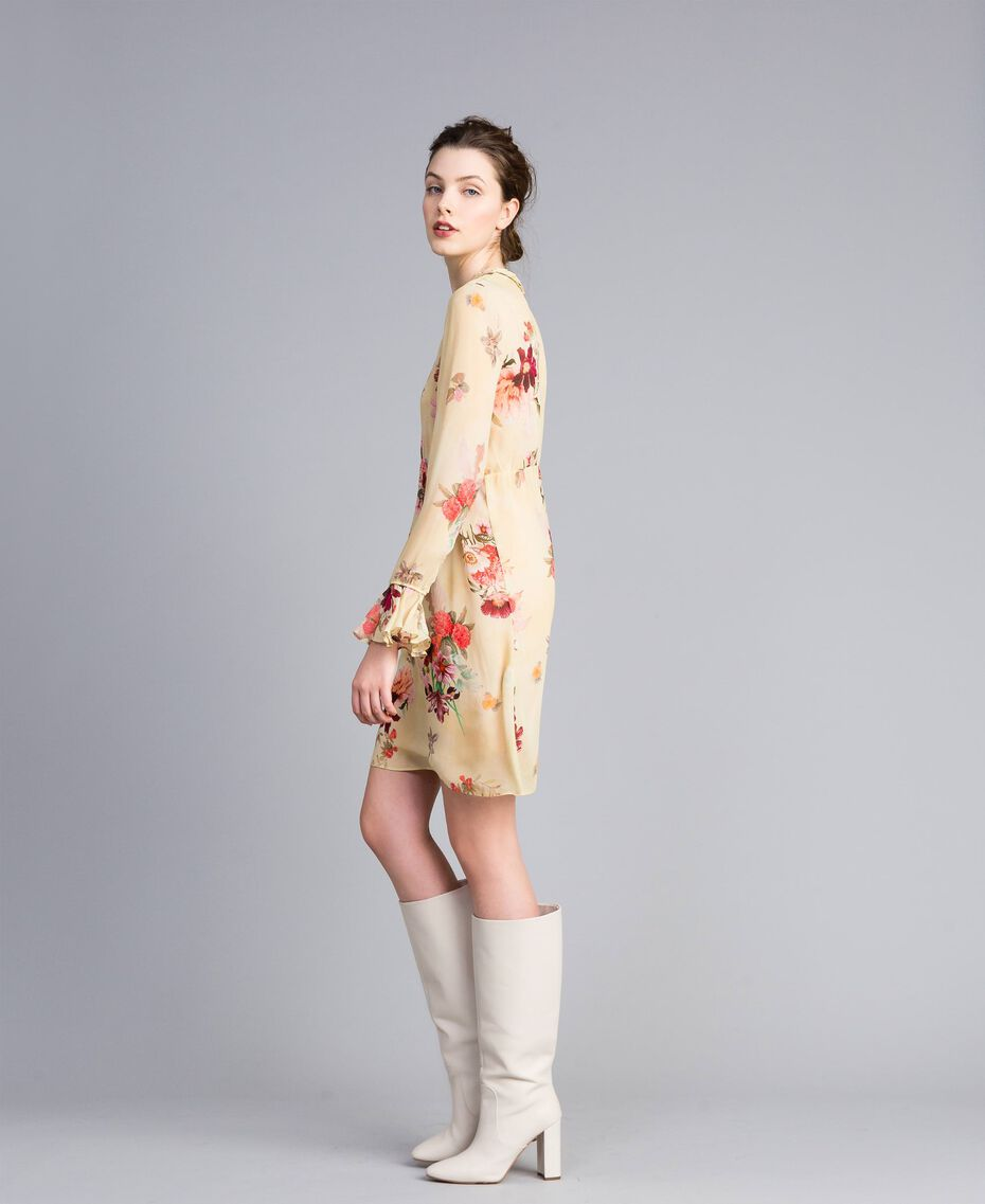 Mini-robe en crêpe georgette floral Imprimé Rose «Tea Garden» Femme PA8271-02