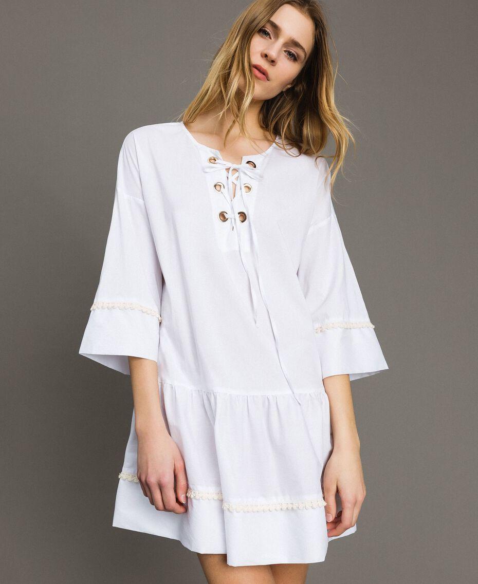 Caftan en popeline Blanc Femme 191LB2JEE-01