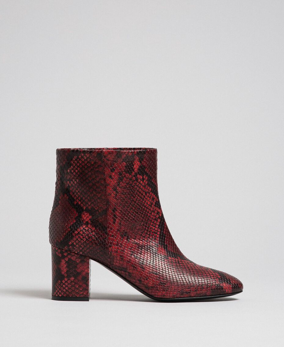 Leather ankle boots with animal print Beet Red Python Print Woman 192TCP12Q-02