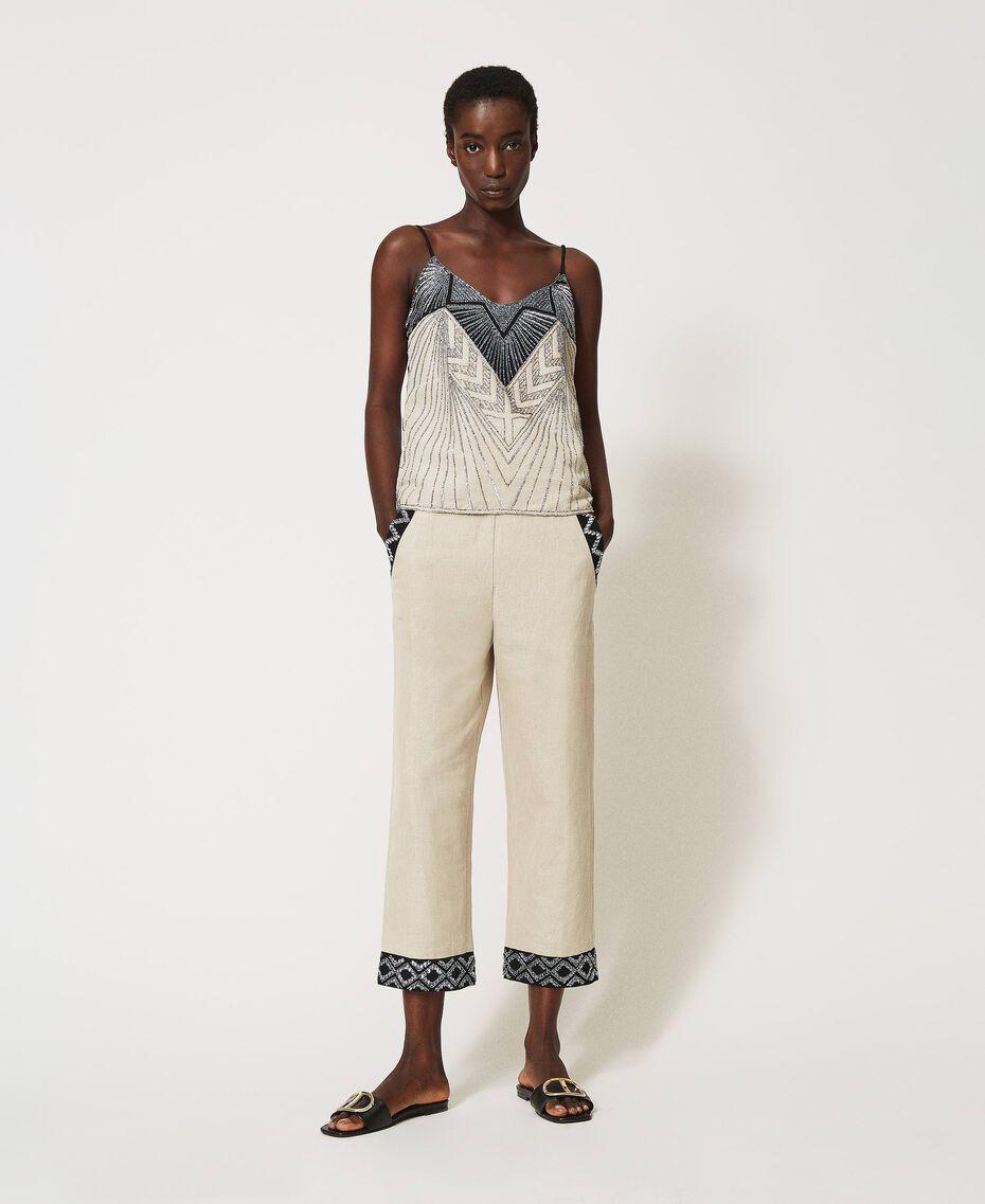 Pantalon en lin mélangé avec broderies Bicolore Beige «Dune» / Noir Brodé Femme 211TT2614-01