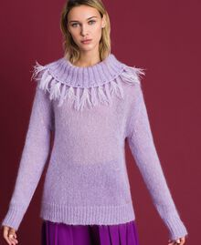 "Mohair jumper with feathers and fringes ""Pink Lavender"" Woman 192TT3276-02"