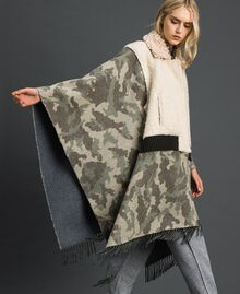 Camouflage wool cloth and bouclé cape Camouflage Jacquard Woman 192TT2503-05