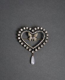 Herzbrosche mit Schmetterling, Chatons und Perle Kristall Frau 192TA436K-01