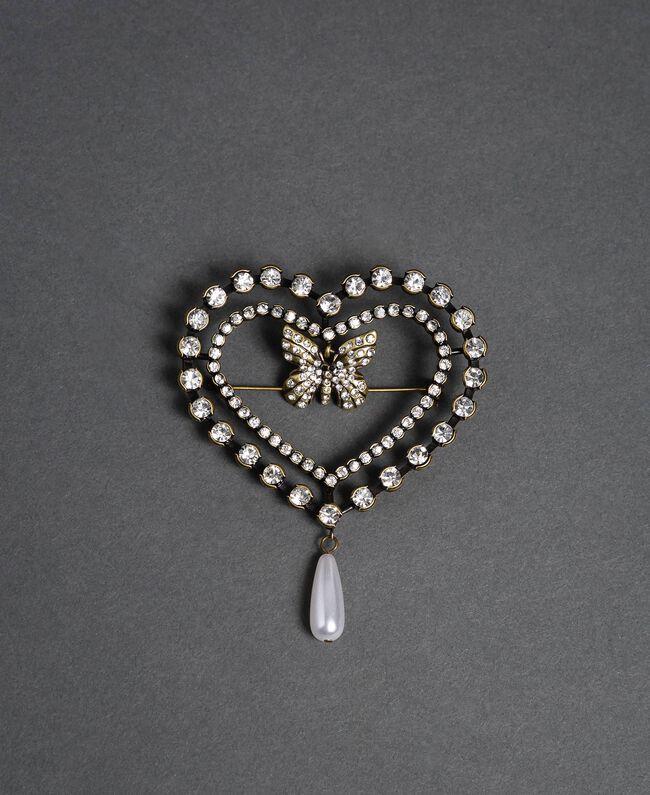 Broche cœur avec papillon, chatons et perle Cristal Femme 192TA436K-01