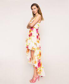 Vestido asimétrico de georgette de flores Estampado Hibiscus Nieve Mujer 201TT2493-02