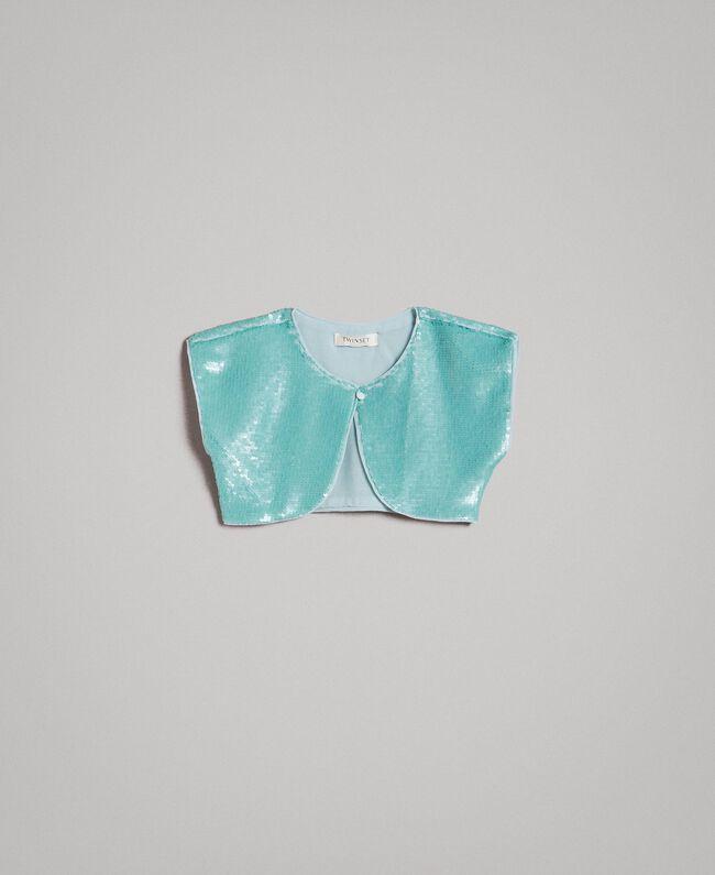 """Paillettenbesetzte Jacke Blau """"Wasser"""" Kind 191GJ2Q71-01"""