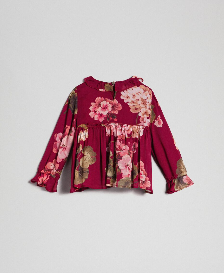 Floral print georgette blouse Beet Red Geranium Print Child 192GB2721-0S