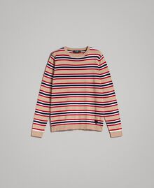 "Crêpe cotton striped jumper Multicolour Porcelain Beige / ""Dark Raspberry"" Red Man 191UT3033-0S"