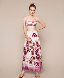 Printed satin skirt-dress Flirty Rose Unevenly Dyed Print Woman 201LB2GLL-01