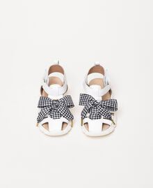 Leather sandals with gingham bow White Child 201GCB140-04