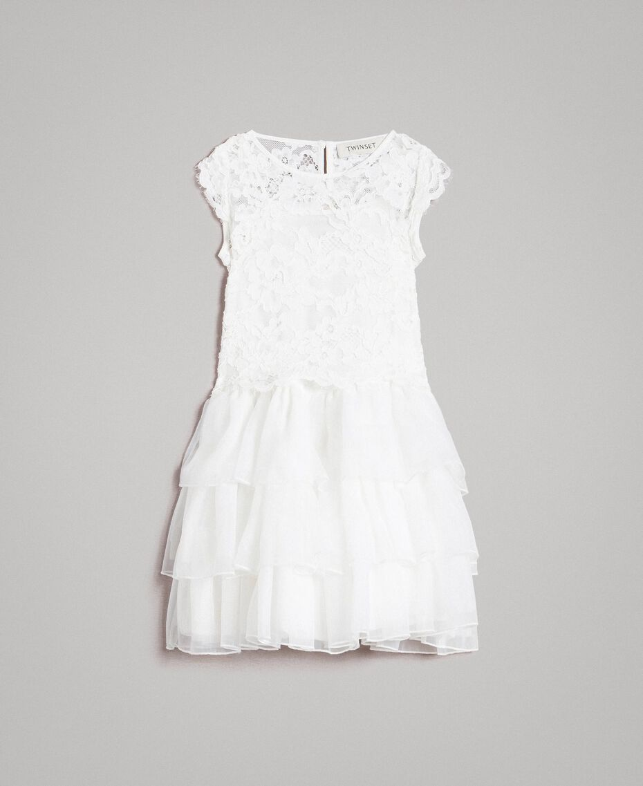 Crêpe de Chine dress and blouse Off White Child 191GB2Q90-01