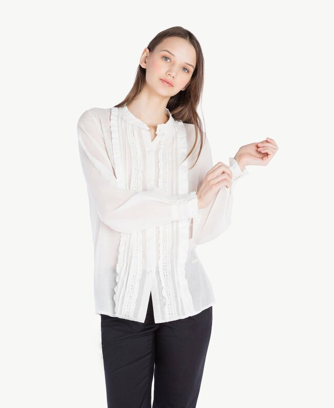 Chemise ruches Ivoire Femme SS82HQ-01