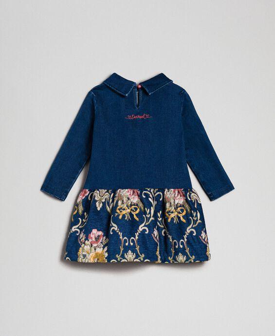 Robe en molleton effet jean et brocart floral