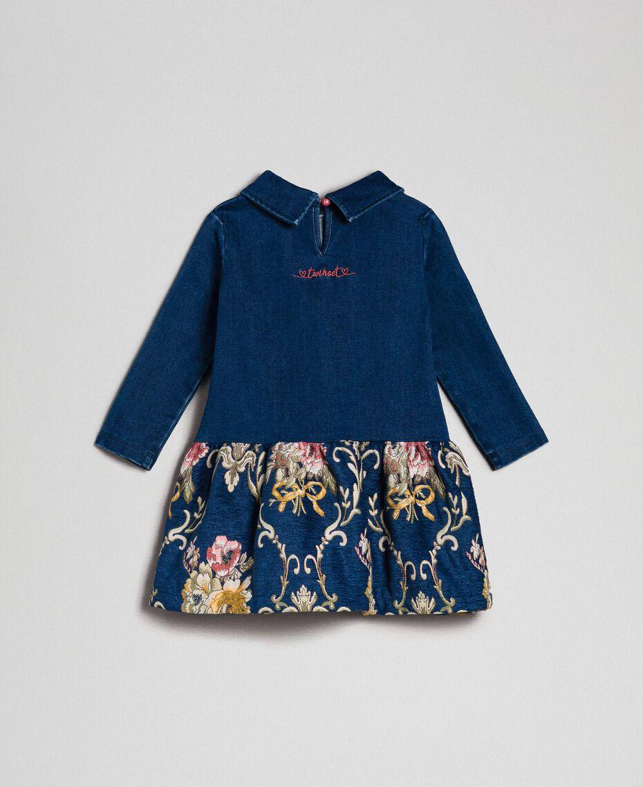 Denim effect plush dress with floral brocade Denim Effect / Brocade Child 192GB2631-0S