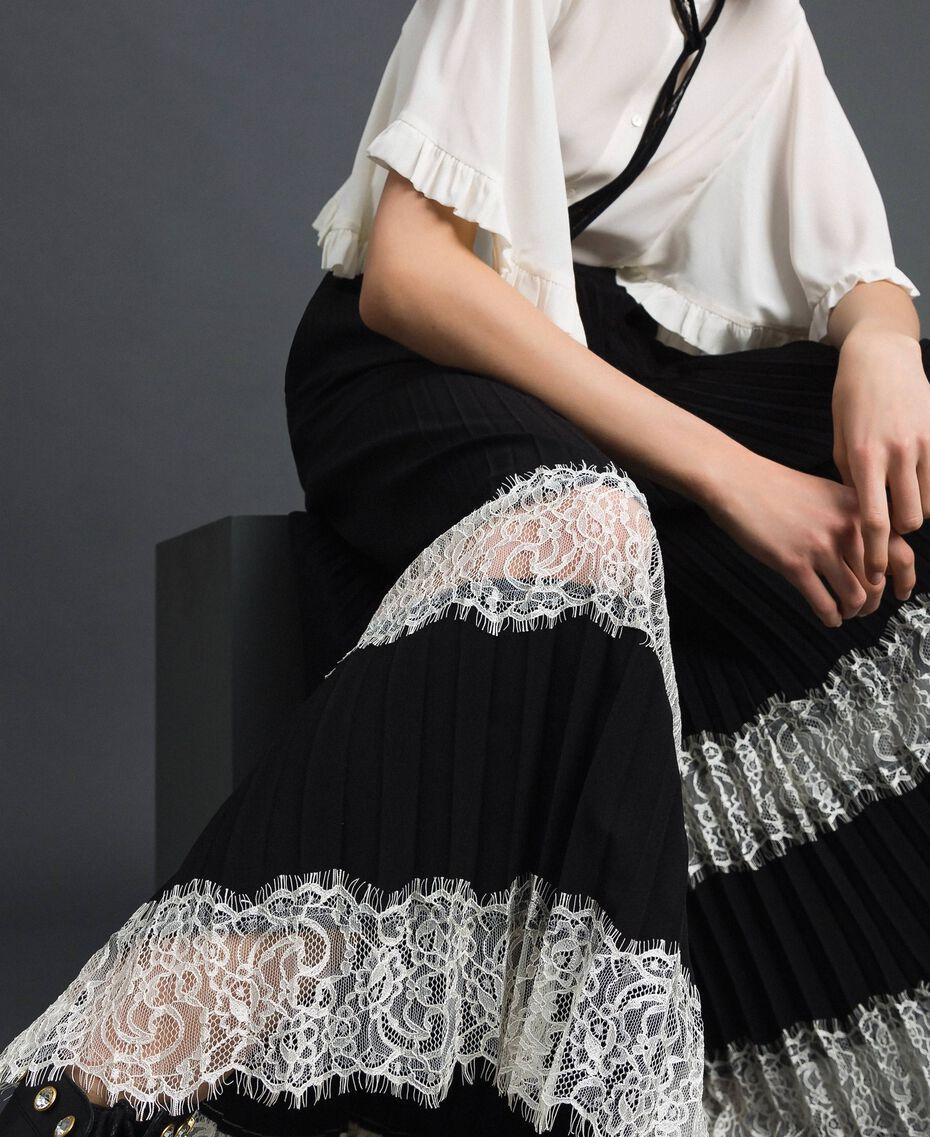 """Pantaloni a palazzo con pizzo Bicolor Nero / Bianco """"Neve"""" Donna 192TP2283-02"""