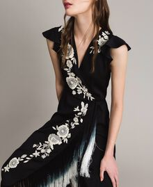 Robe longue avec broderie florale et franges Noir Femme 191TT2135-05