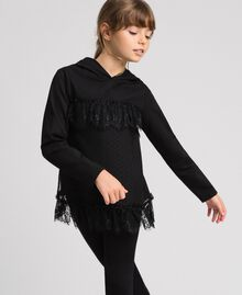 Sweat avec insertion en filet, tulle et dentelle Noir Enfant 192GJ2321-02