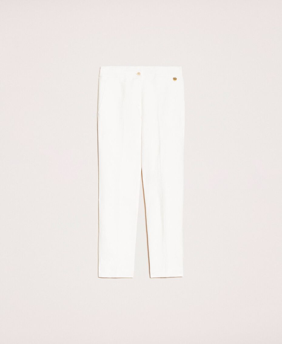 Linen blend cigarette trousers White Snow Woman 201TP2256-0S