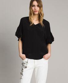 Блуза из смесового шелка Черный женщина 191TT2075-04