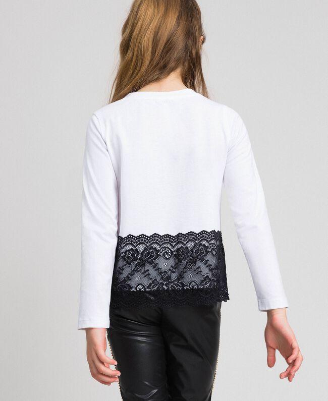 T-shirt avec imprimé et dentelle Blanc Optique / Noir Enfant 192GJ2393-04
