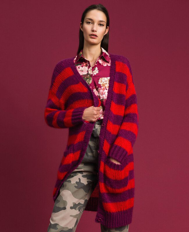 Maxi cardigan en mohair rayé Rayure Rouge Betterave / Grenadier Femme 192TP3272-01