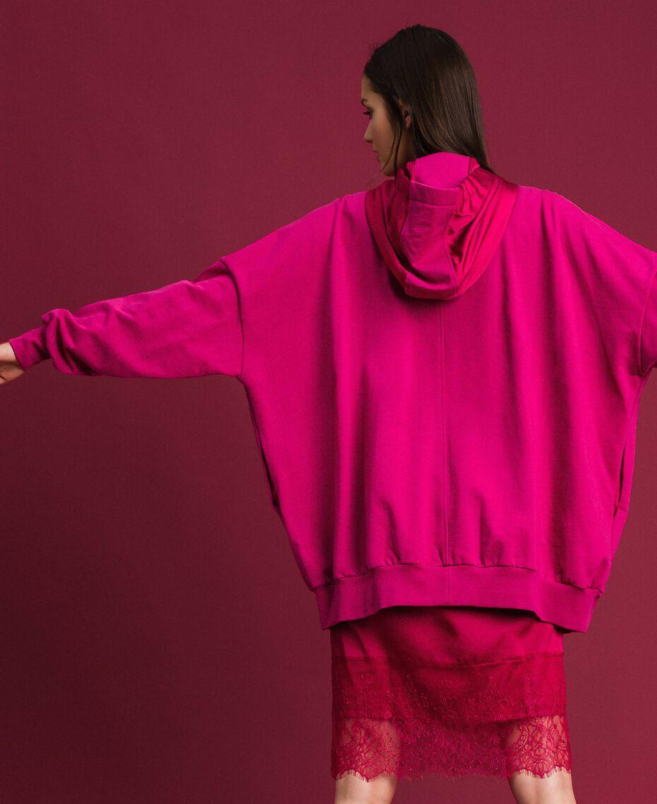 Maxi sweat en satin avec dentelle et franges Rouge Amaranth Femme 192MP2270-03