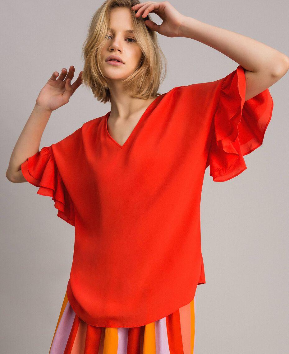 Blusa in misto seta Rosso Granatina Donna 191TT2075-02