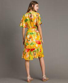 Robe de georgette à imprimé floral Gros Imprimé Fleur Jaune Femme 191TT2482-03