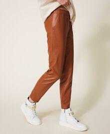 Pantalon cigarette en similicuir Rouge Terre cuite Femme 202LI2GDD-04
