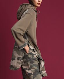 Maxi sweatshirt with camouflage details Military Gold / Camouflage Print Woman 192TP2040-03