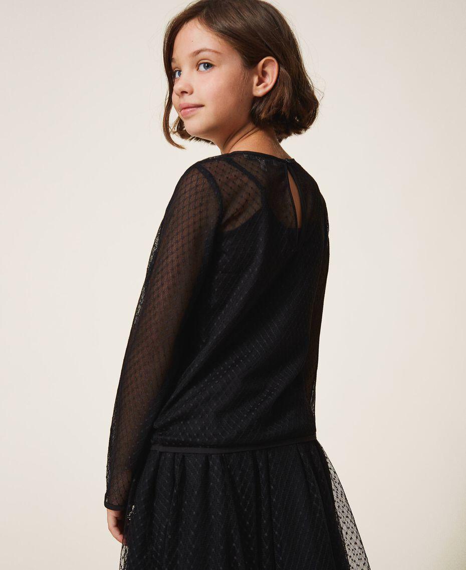 Bluse aus Tüll mit Stickereien Schwarz Kind 202GJ2611-03