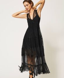 Tulle long dress with lace and fringes Black Woman 202TP2372-06