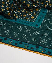 Floral print kefiah with logo Mineral Green Mix Print Woman 192TA440C-02