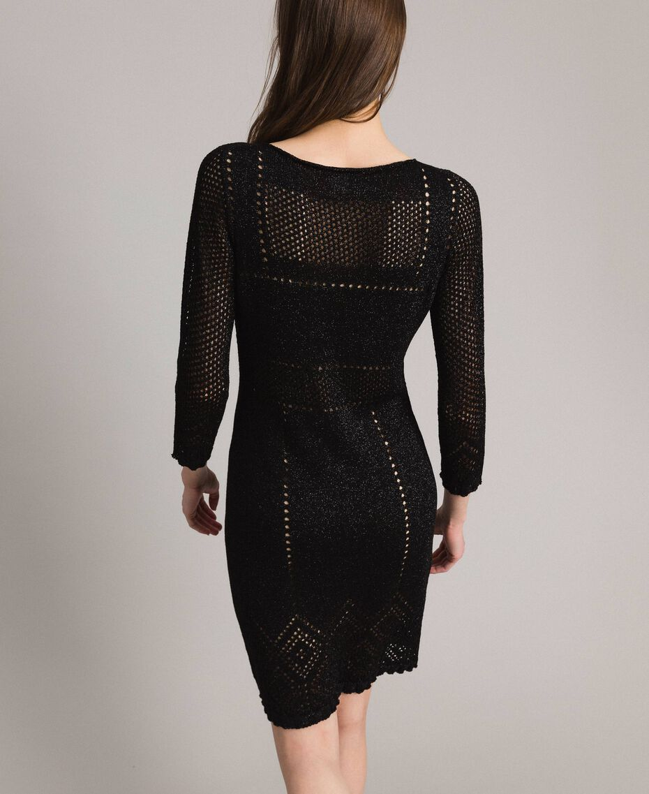 Openwork lurex dress Black Woman 191TT3111-03
