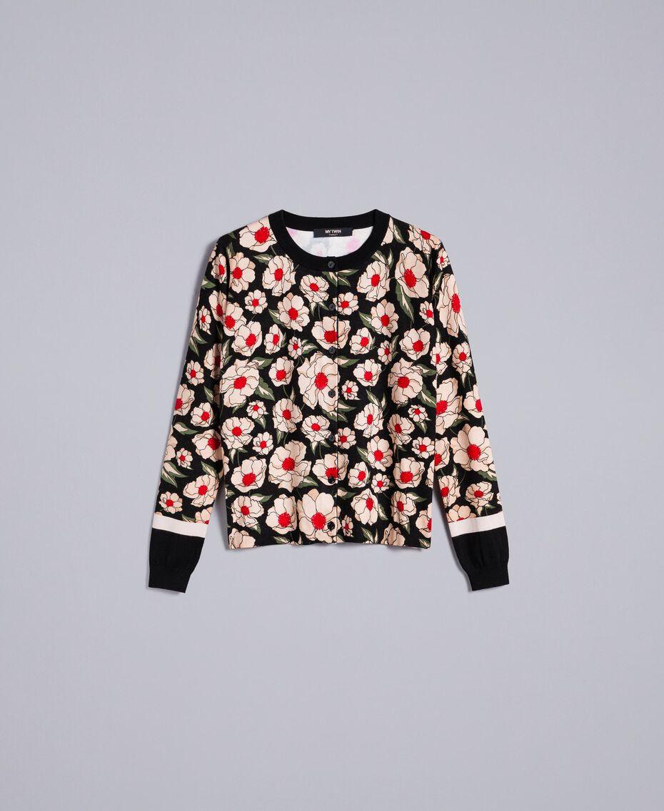 Printed viscose blend mandarin collar top Caramel / Black Windflower Print Woman YA83B1-0S