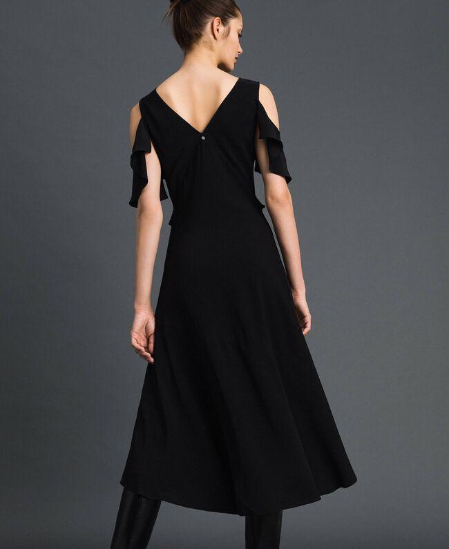Robe longue en crêpe georgette avec volant Noir Femme 192TP2385-03